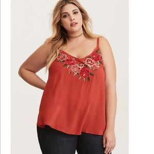 Embroidered Rose Challis Cami